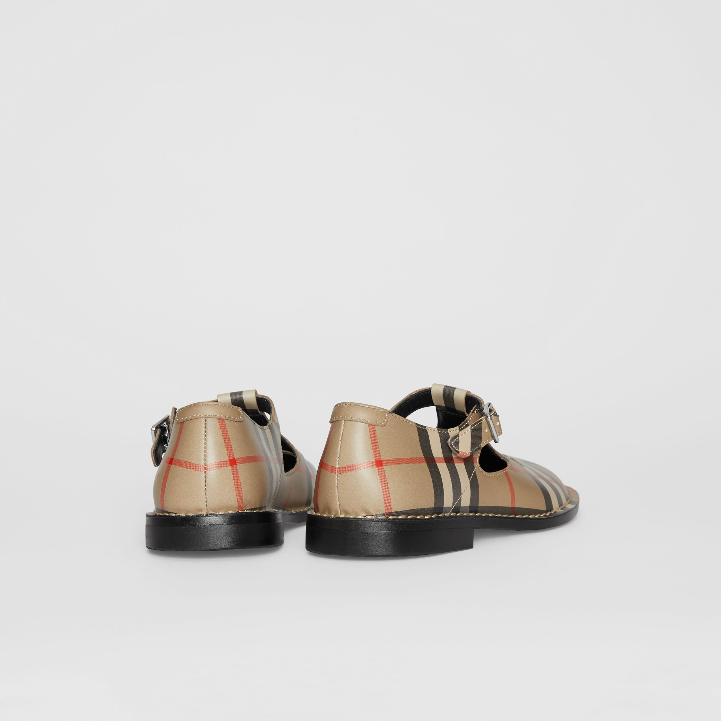 Vintage Check Leather Mary Jane Shoes in Archive Beige - Children | Burberry - 3