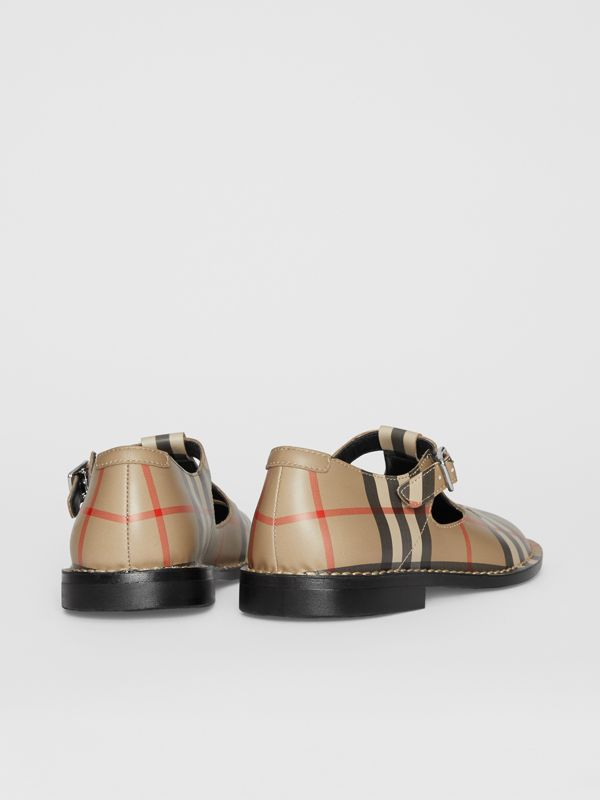 Vintage Check Leather Mary Jane Shoes in Archive Beige - Children | Burberry - cell image 2