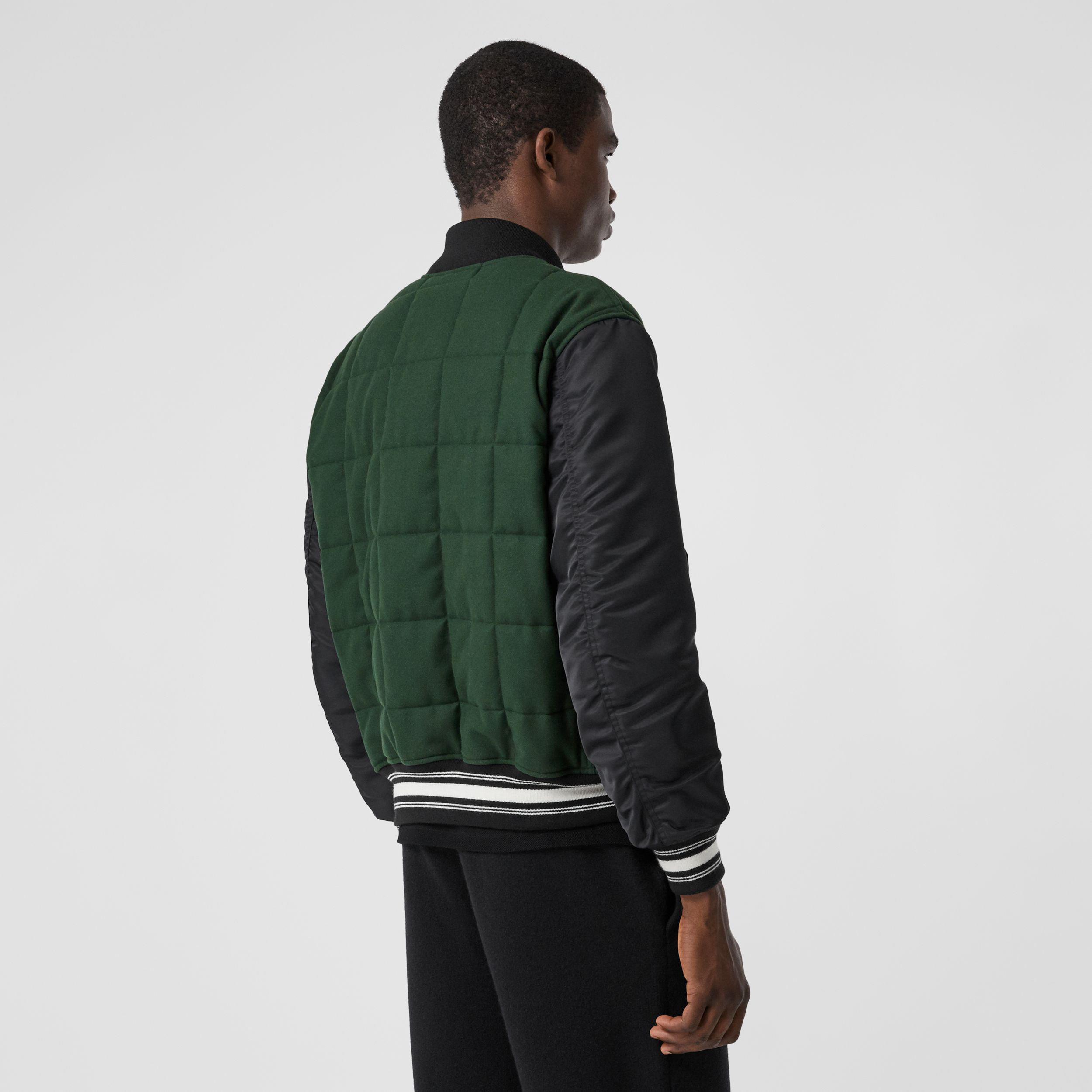 Contrast Sleeve Logo Graphic Wool Bomber Jacket in Dark Pine Green - Men | Burberry - 3
