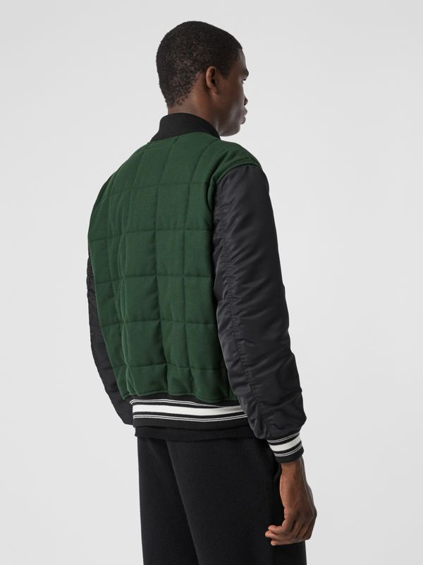 Contrast Sleeve Logo Graphic Wool Bomber Jacket in Dark Pine Green - Men | Burberry Hong Kong S.A.R - cell image 2