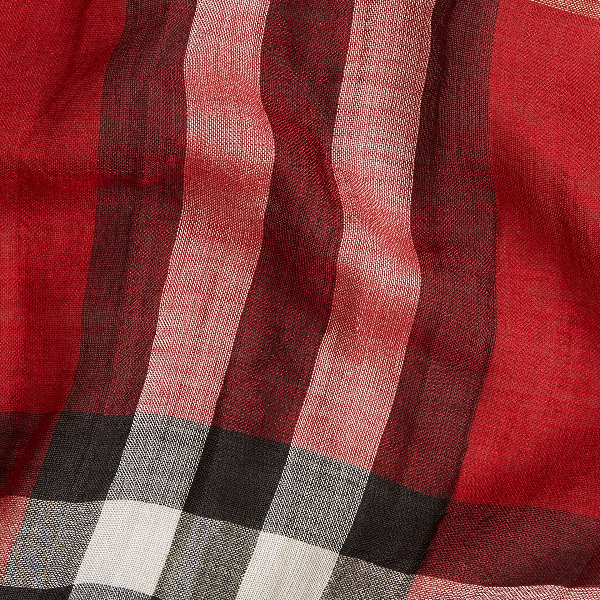 Lightweight Check Wool and Silk Scarf in Parade Red - gallery image 2
