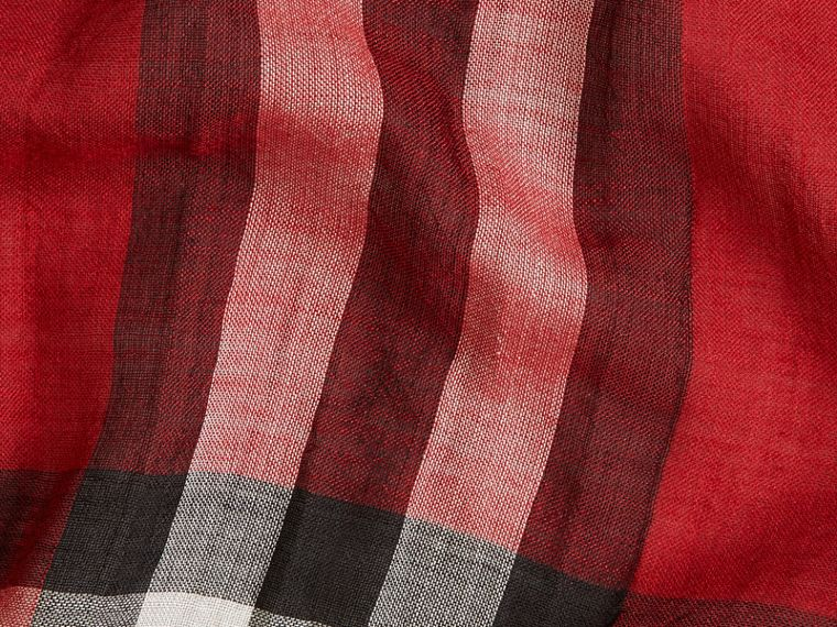 Lightweight Check Wool and Silk Scarf Parade Red - cell image 1