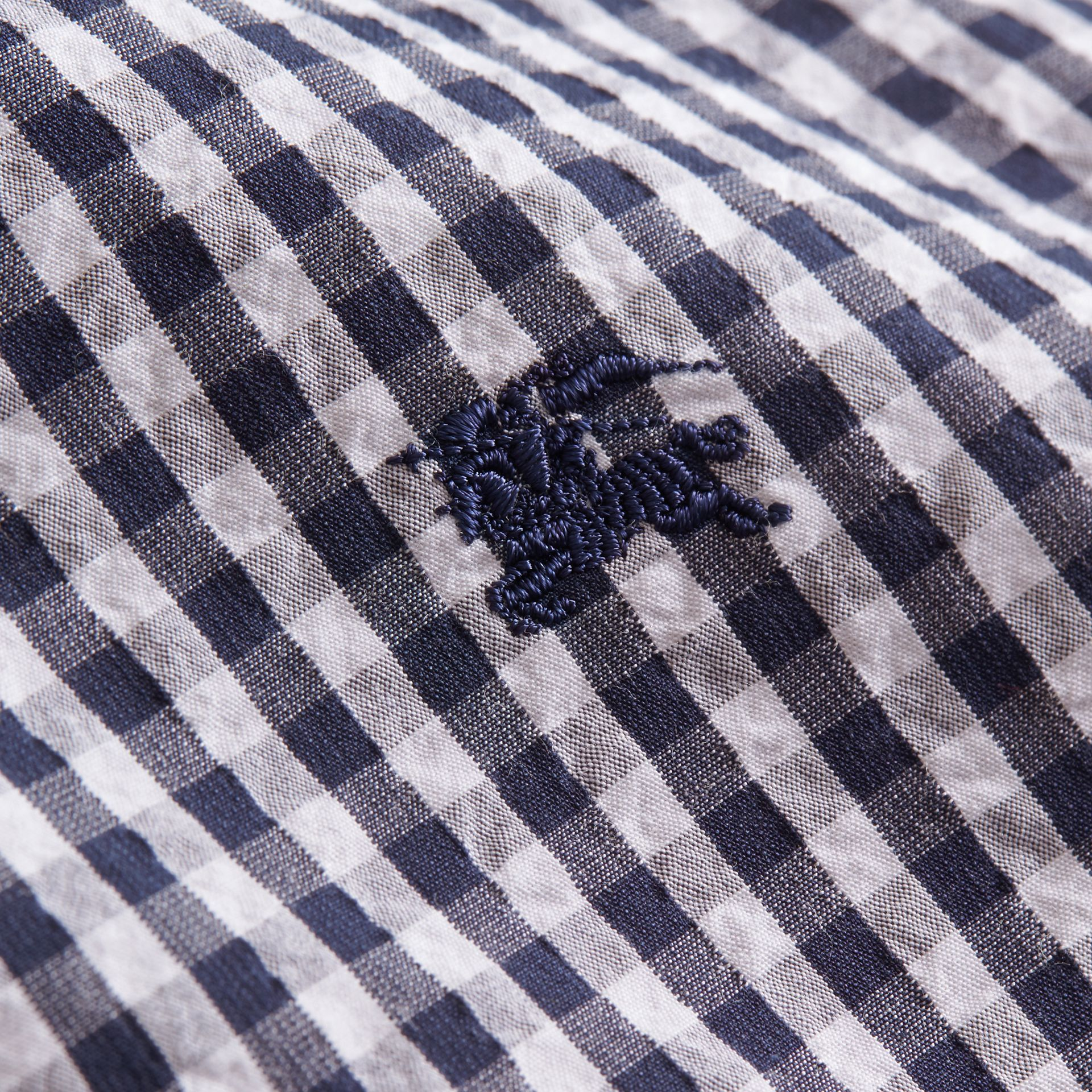 Short-sleeved Gingham Cotton Poplin Shirt in Ink Blue - Men | Burberry - gallery image 2
