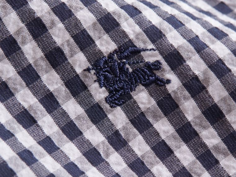 Short-sleeved Gingham Cotton Poplin Shirt in Ink Blue - Men | Burberry - cell image 1