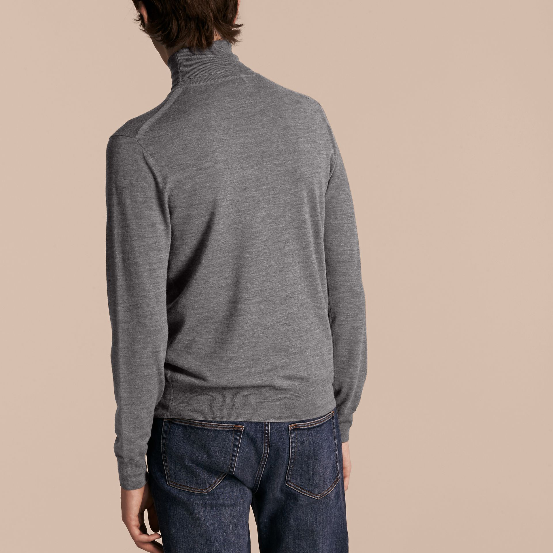 Merino Wool Roll-neck Sweater Mid Grey Melange - gallery image 3