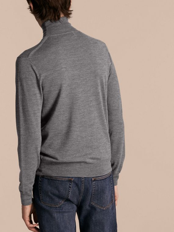 Mid grey melange Merino Wool Roll-neck Sweater Mid Grey Melange - cell image 2