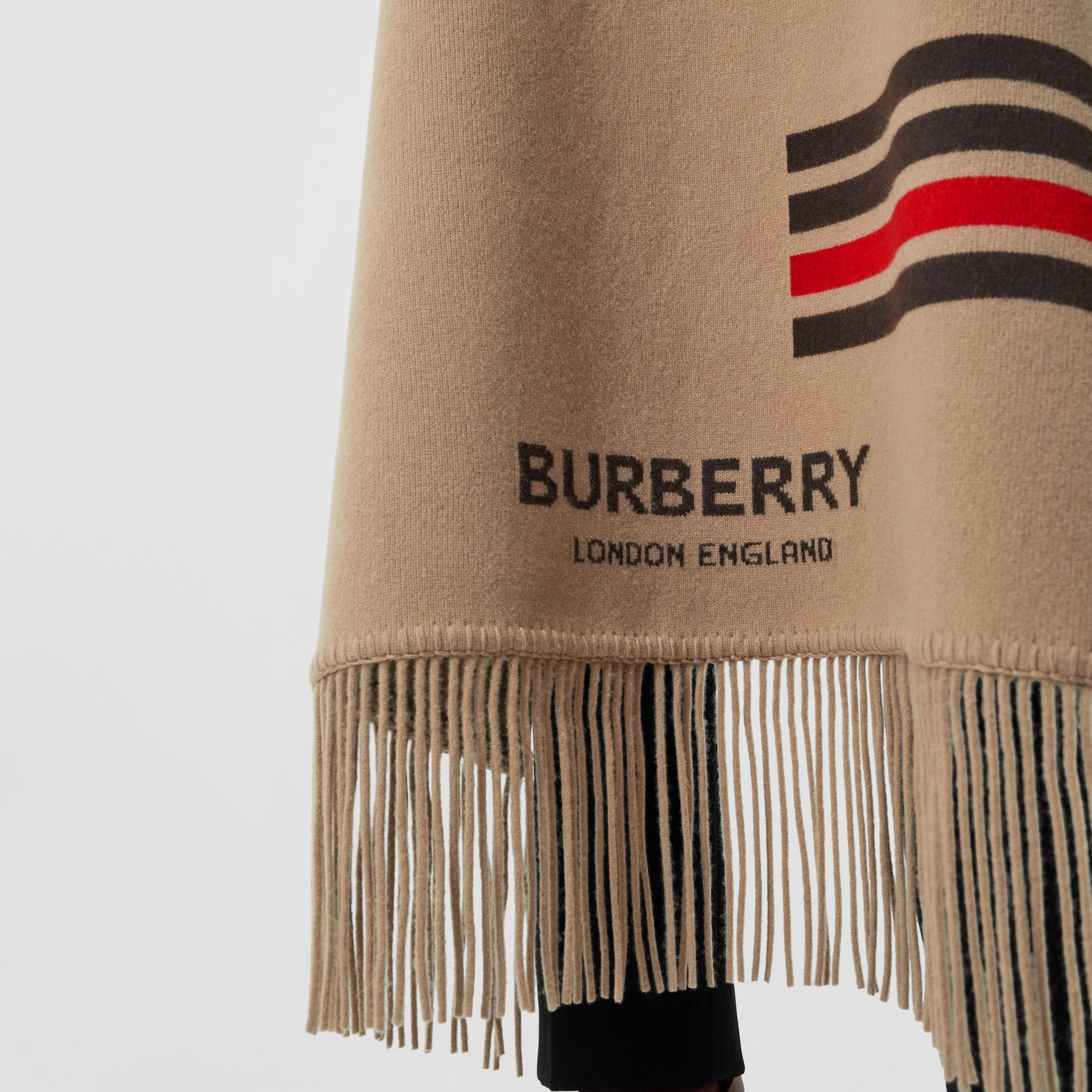 Striped Wool Cashmere Blend Cape in Camel - Women | Burberry - gallery image 5