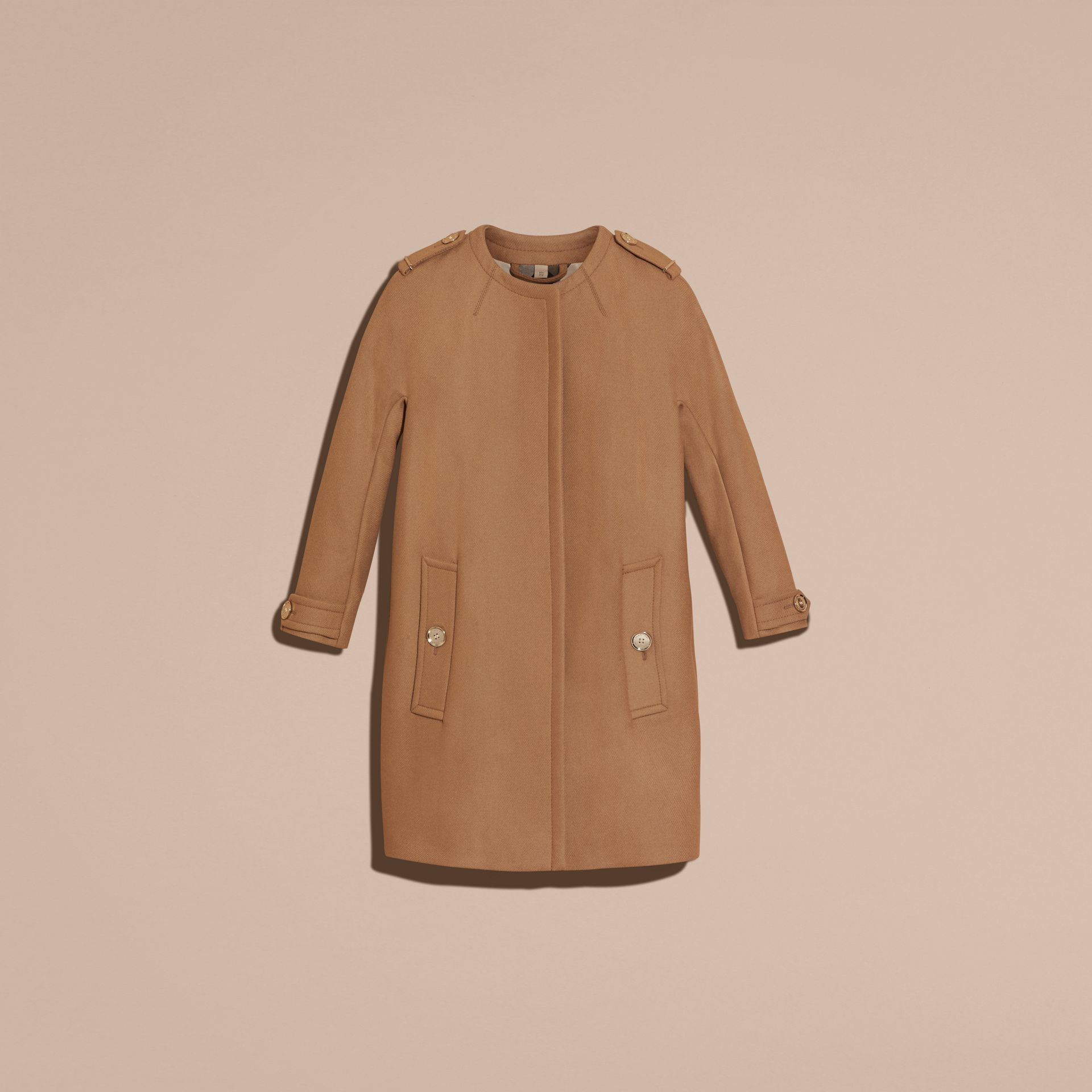 Camel Technical Wool Cashmere Blend Collarless Coat - gallery image 4