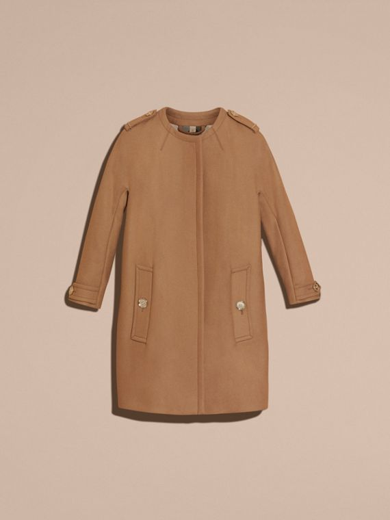 Camel Technical Wool Cashmere Blend Collarless Coat - cell image 3