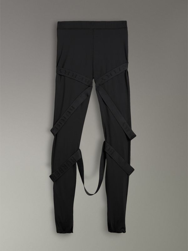 Strap Detail Jersey Leggings in Black | Burberry Australia - cell image 3