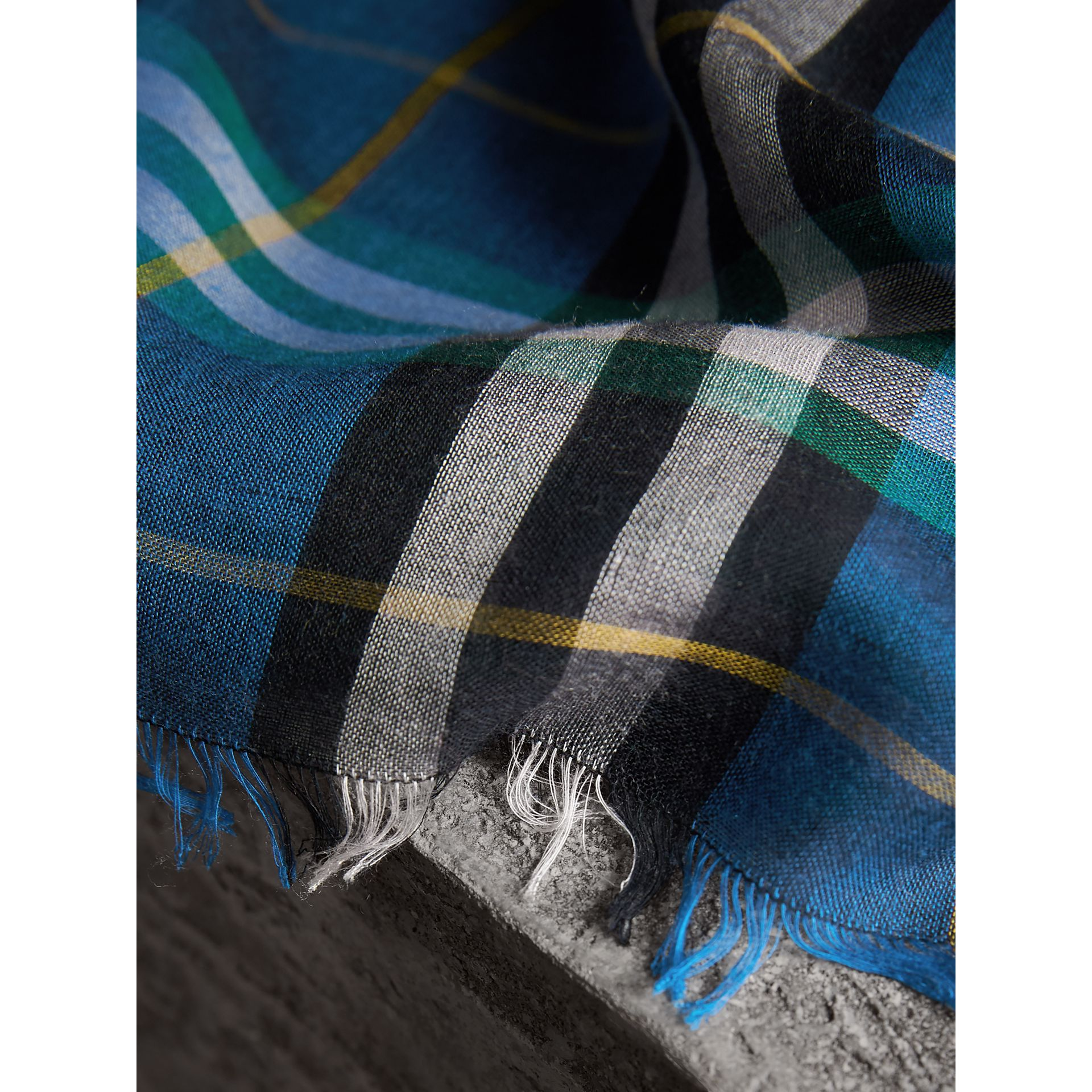Check Modal and Wool Square Scarf in Cyan Blue - Women | Burberry - gallery image 2