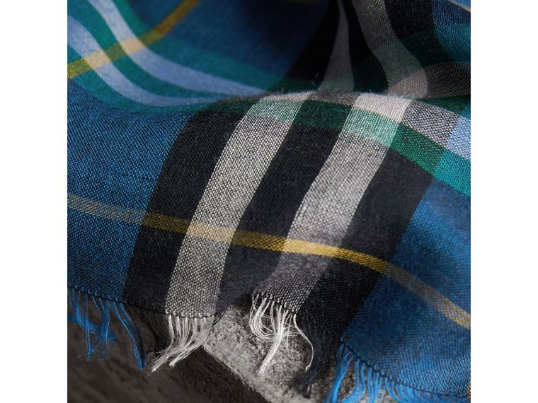 Check Modal and Wool Square Scarf in Cyan Blue - Women | Burberry - cell image 1