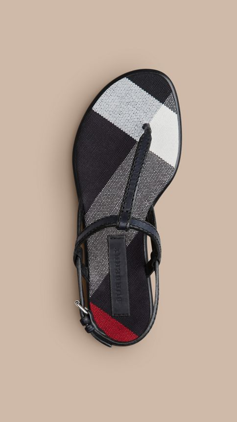 Navy Canvas Check and Leather Sandals Navy - Image 3