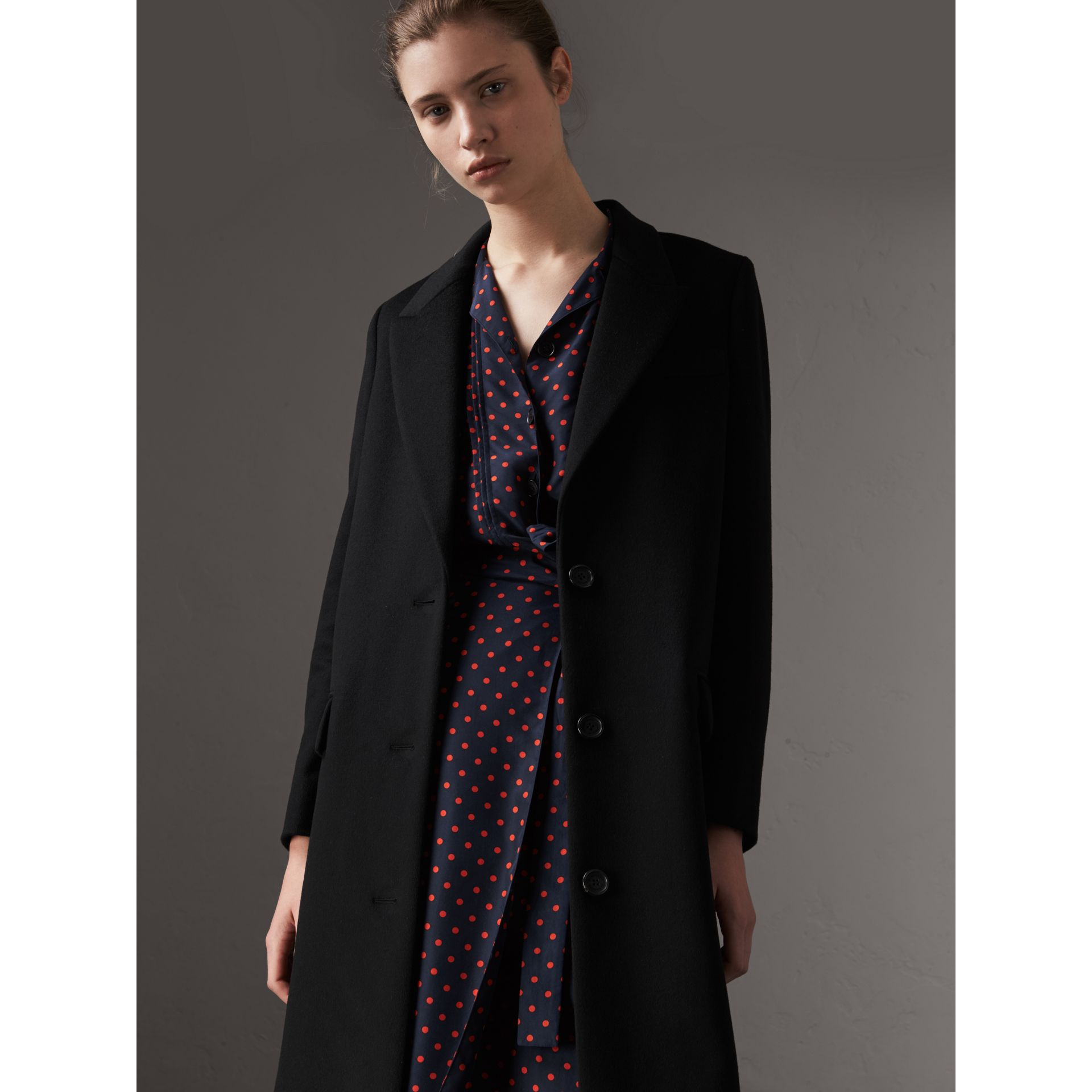 Wool Cashmere Tailored Coat in Black - Women | Burberry - gallery image 5