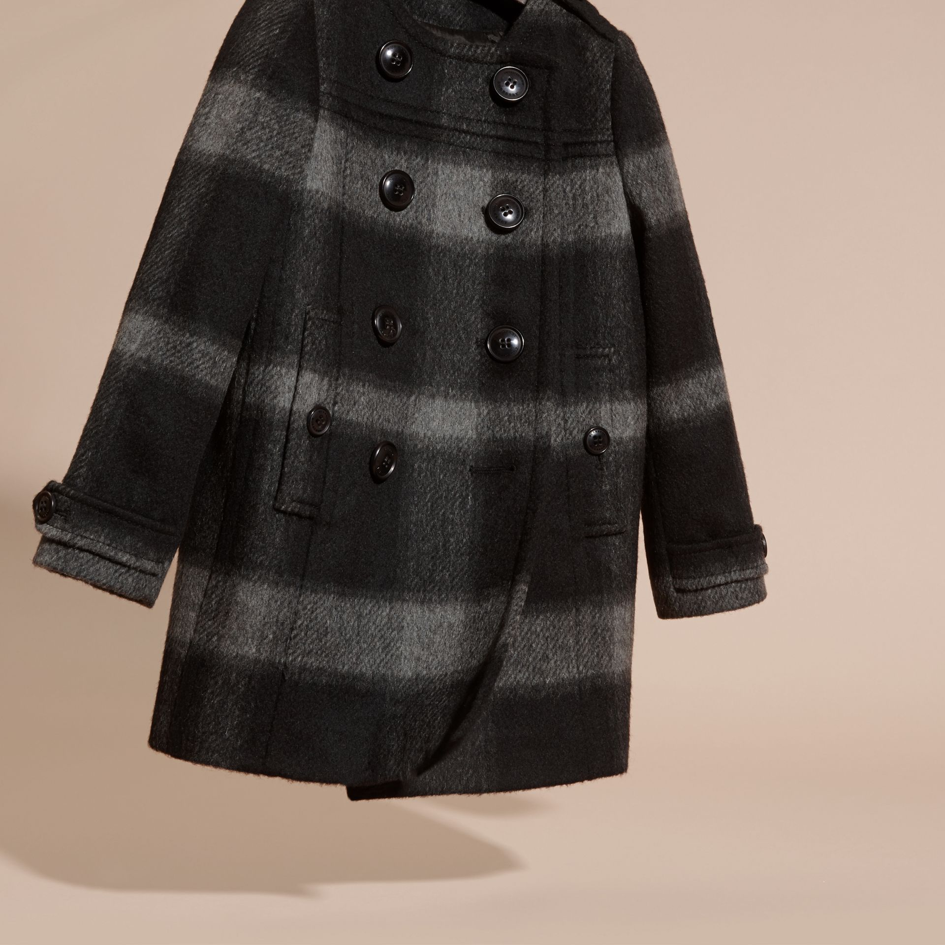 Dark charcoal Check Wool Blend Collarless Coat - gallery image 3