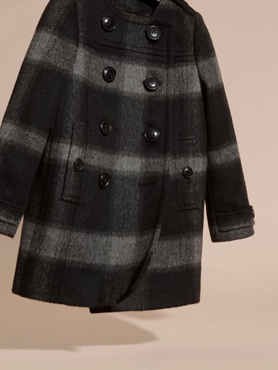 Dark charcoal Check Wool Blend Collarless Coat - cell image 2
