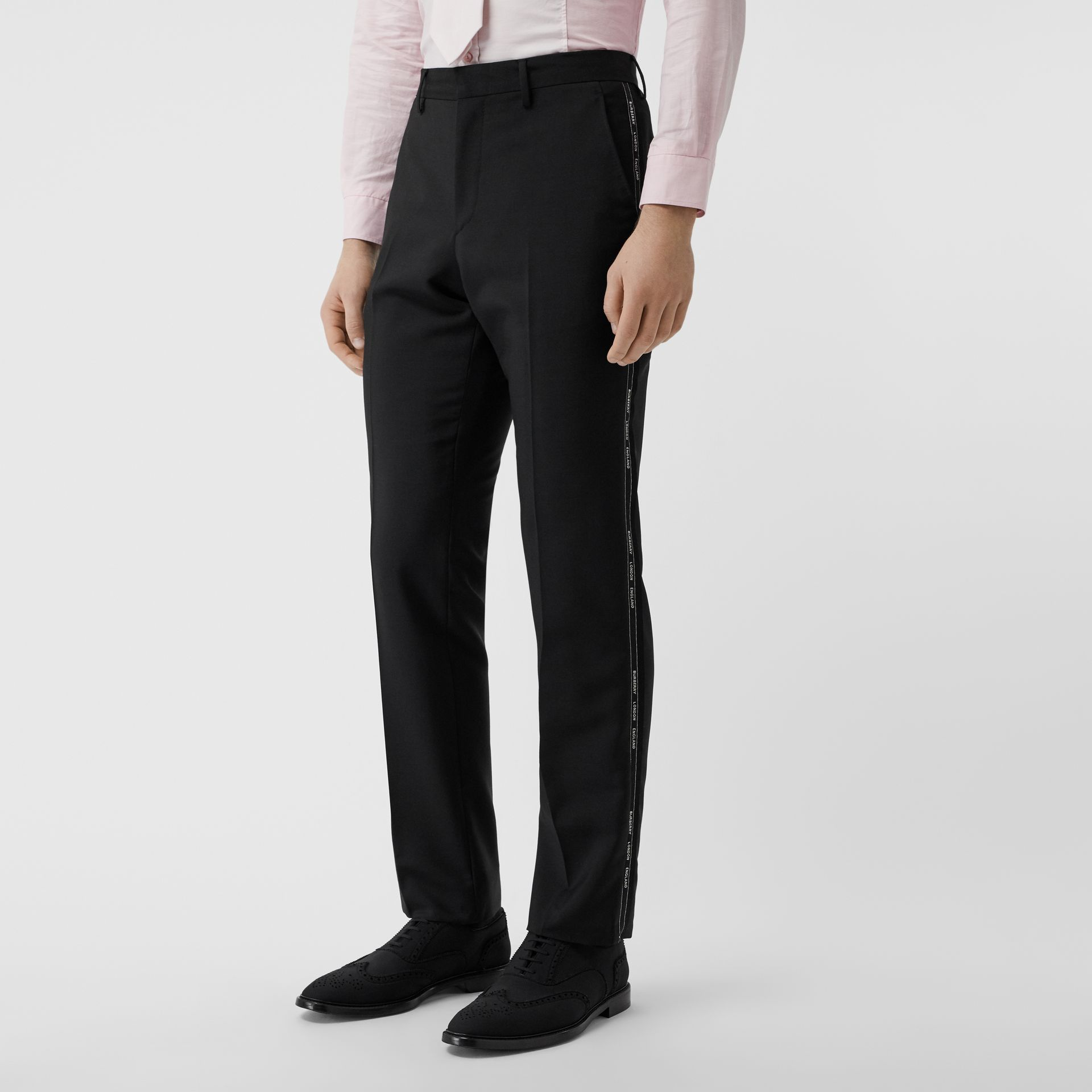 Classic Fit Logo Detail Wool Mohair Tailored Trousers in Black | Burberry - gallery image 4