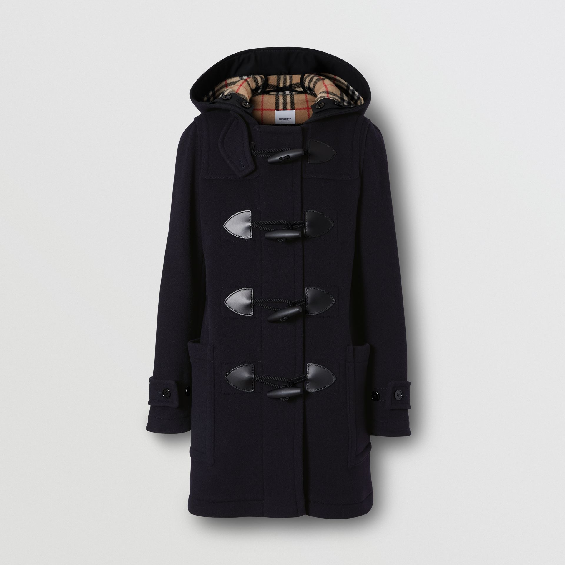 Wool Blend Duffle Coat in Navy - Women | Burberry - gallery image 3