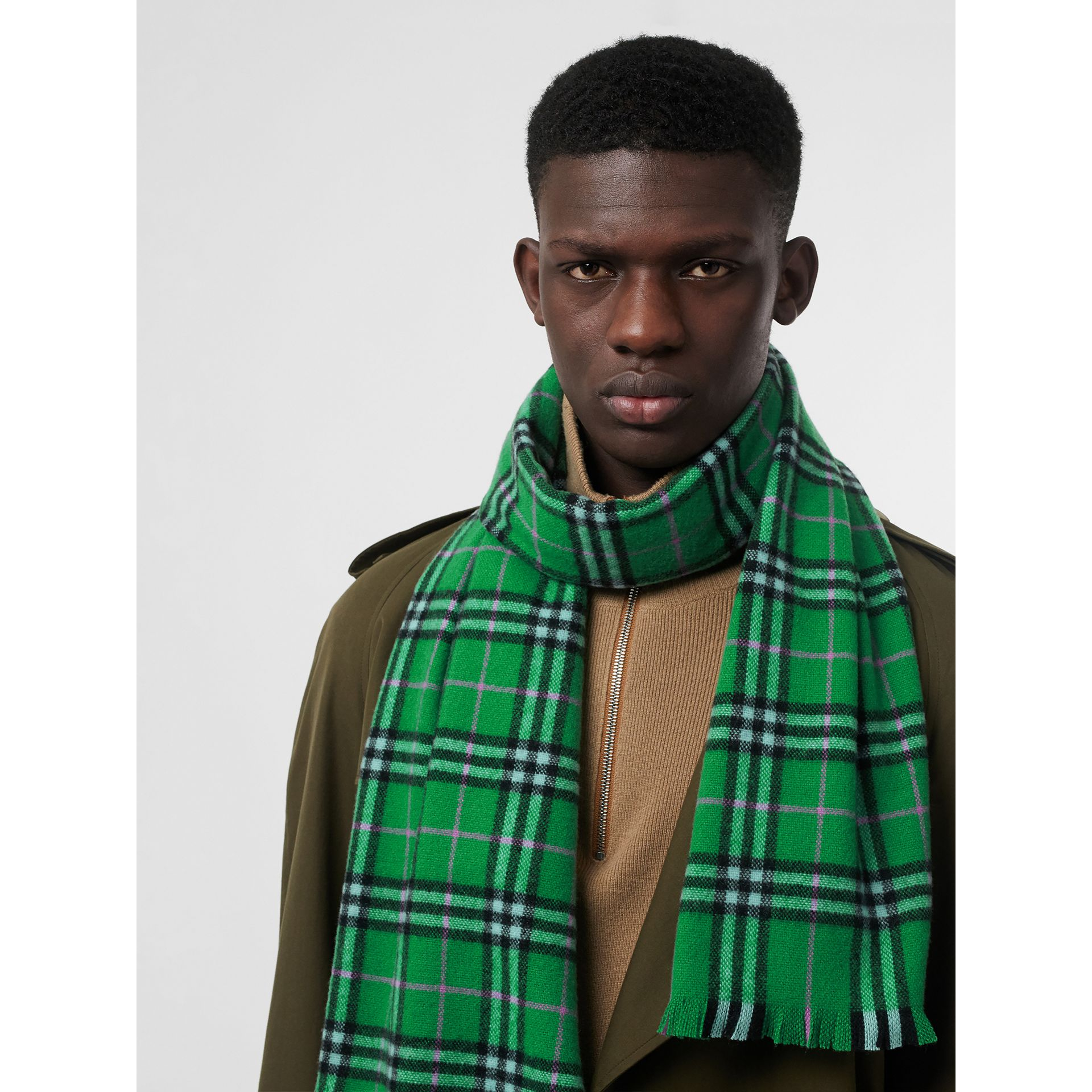 Check Cashmere Scarf in Bright Grass Green | Burberry - gallery image 6