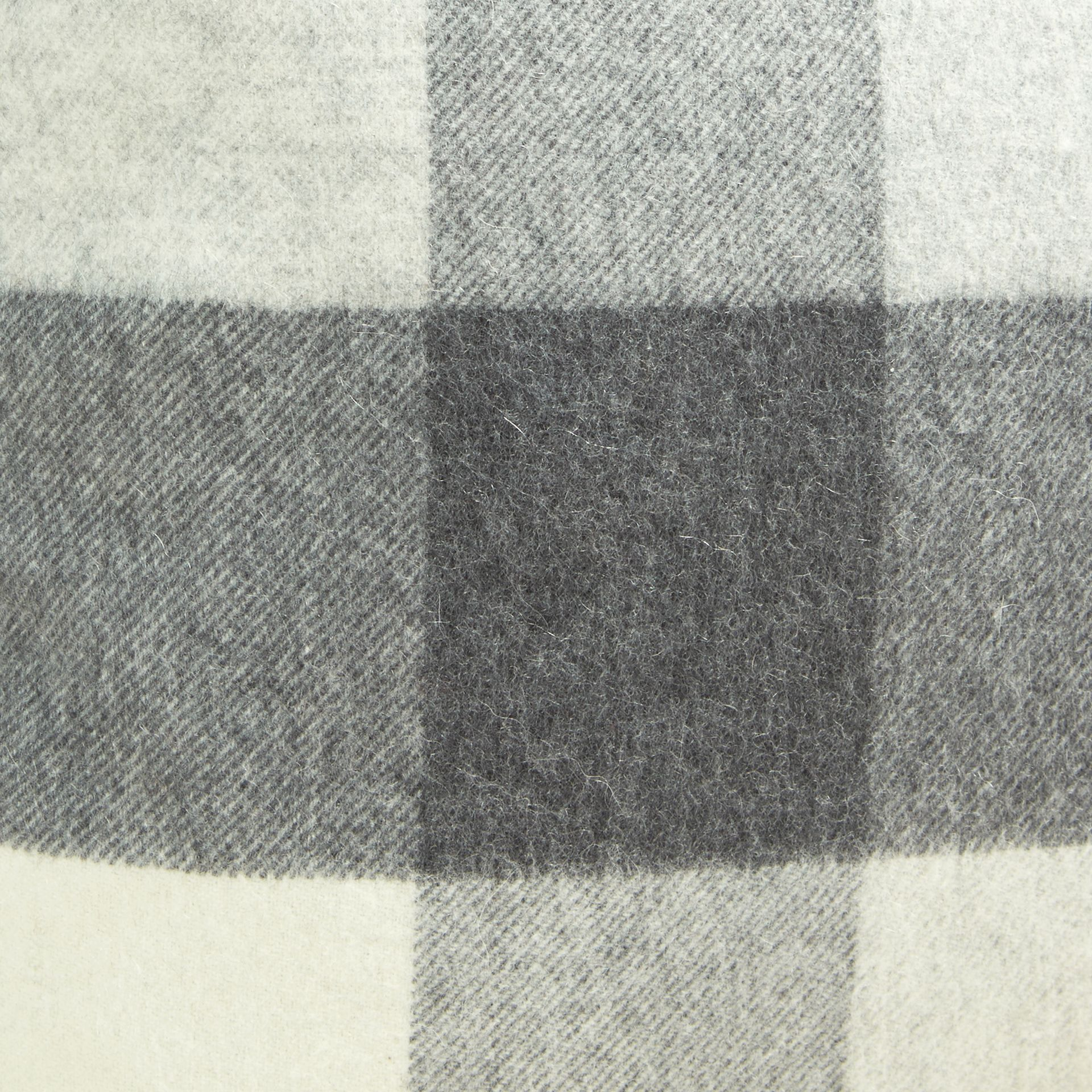 Pale grey Check Cashmere Cushion Cover Pale Grey - gallery image 2