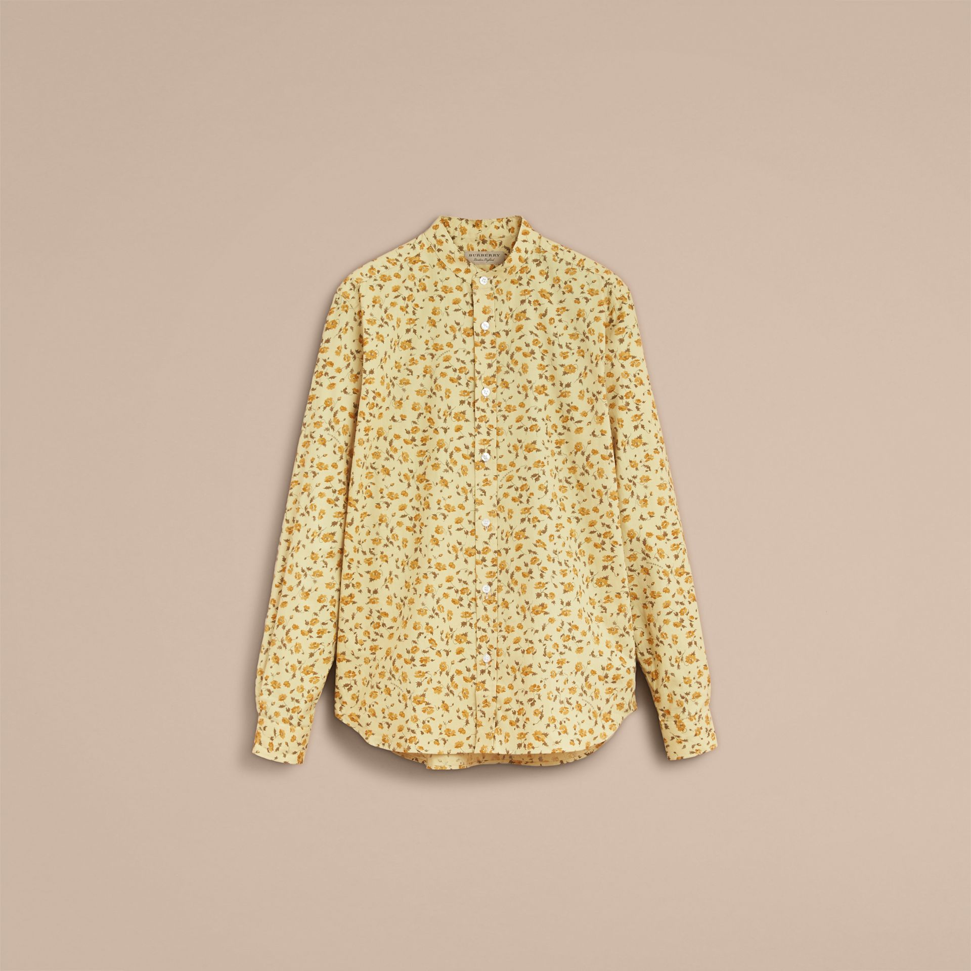 Grandad Collar Floral Print Cotton Poplin Shirt in Chalk Yellow - Men | Burberry - gallery image 4