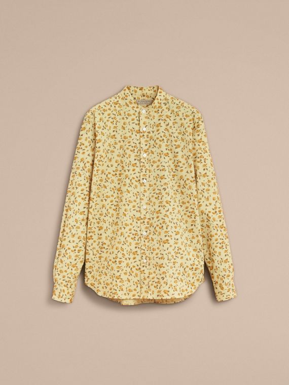 Grandad Collar Floral Print Cotton Poplin Shirt in Chalk Yellow - Men | Burberry - cell image 3