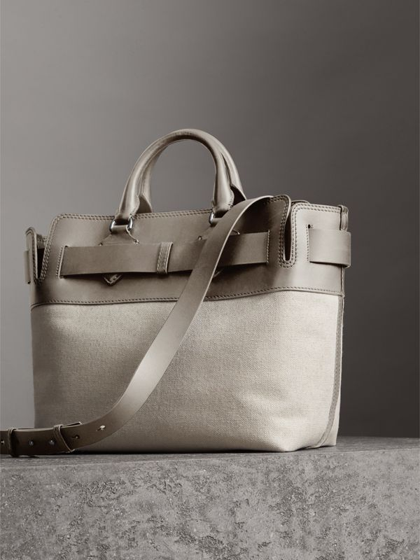 The Medium Canvas and Leather Belt Bag in Grey/stone - Women | Burberry United States - cell image 2