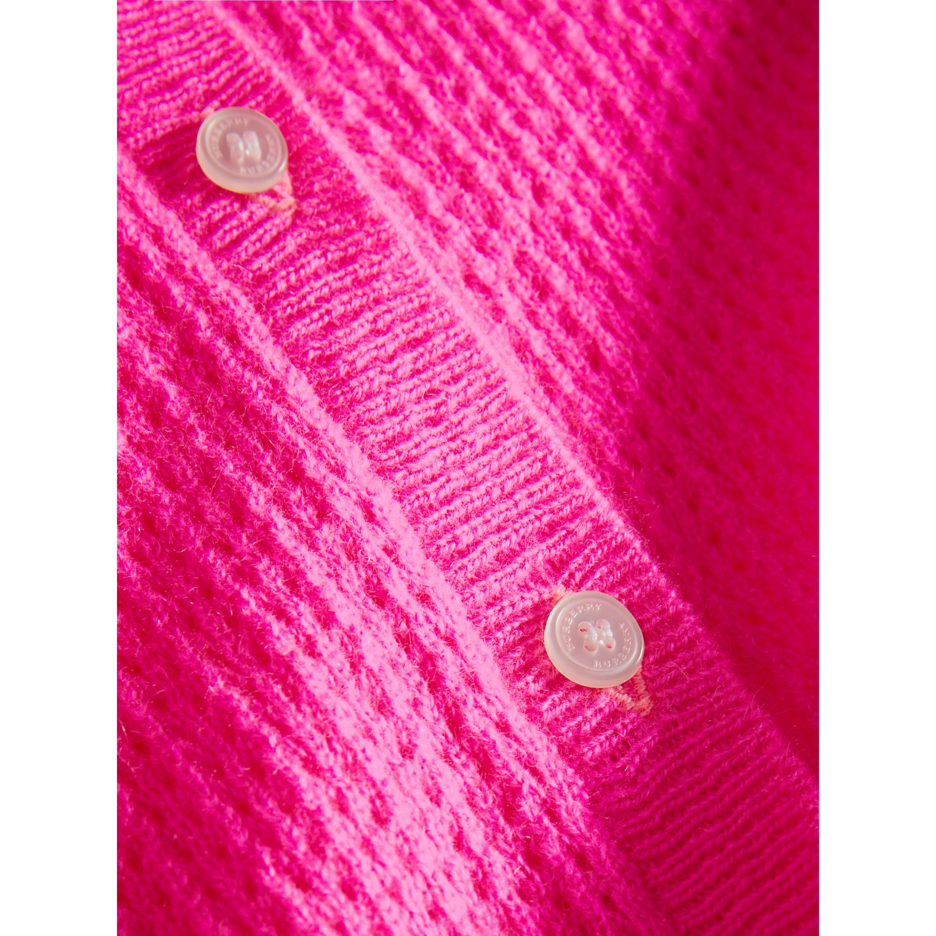 Open-stitch Knitted Cashmere Cardigan in Neon Pink - Girl | Burberry - gallery image 1
