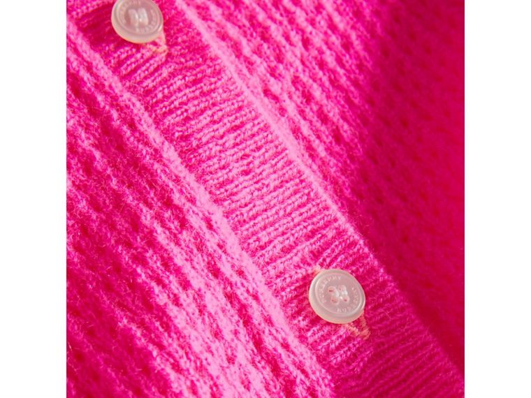 Open-stitch Knitted Cashmere Cardigan in Neon Pink - Girl | Burberry - cell image 1