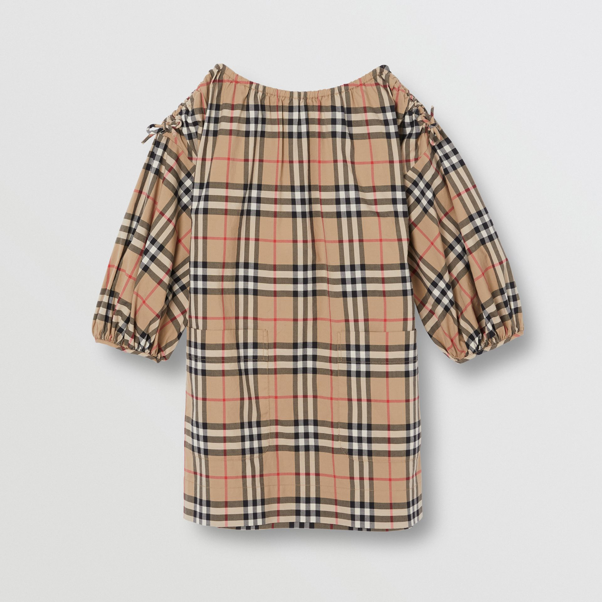 Gathered Sleeve Vintage Check Cotton Dress in Archive Beige | Burberry Australia - gallery image 0