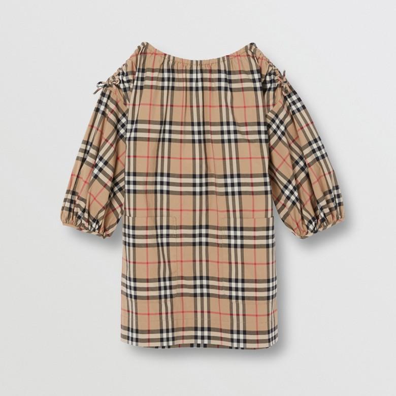 Burberry - Robe en coton Vintage check avec manches froncées - 1