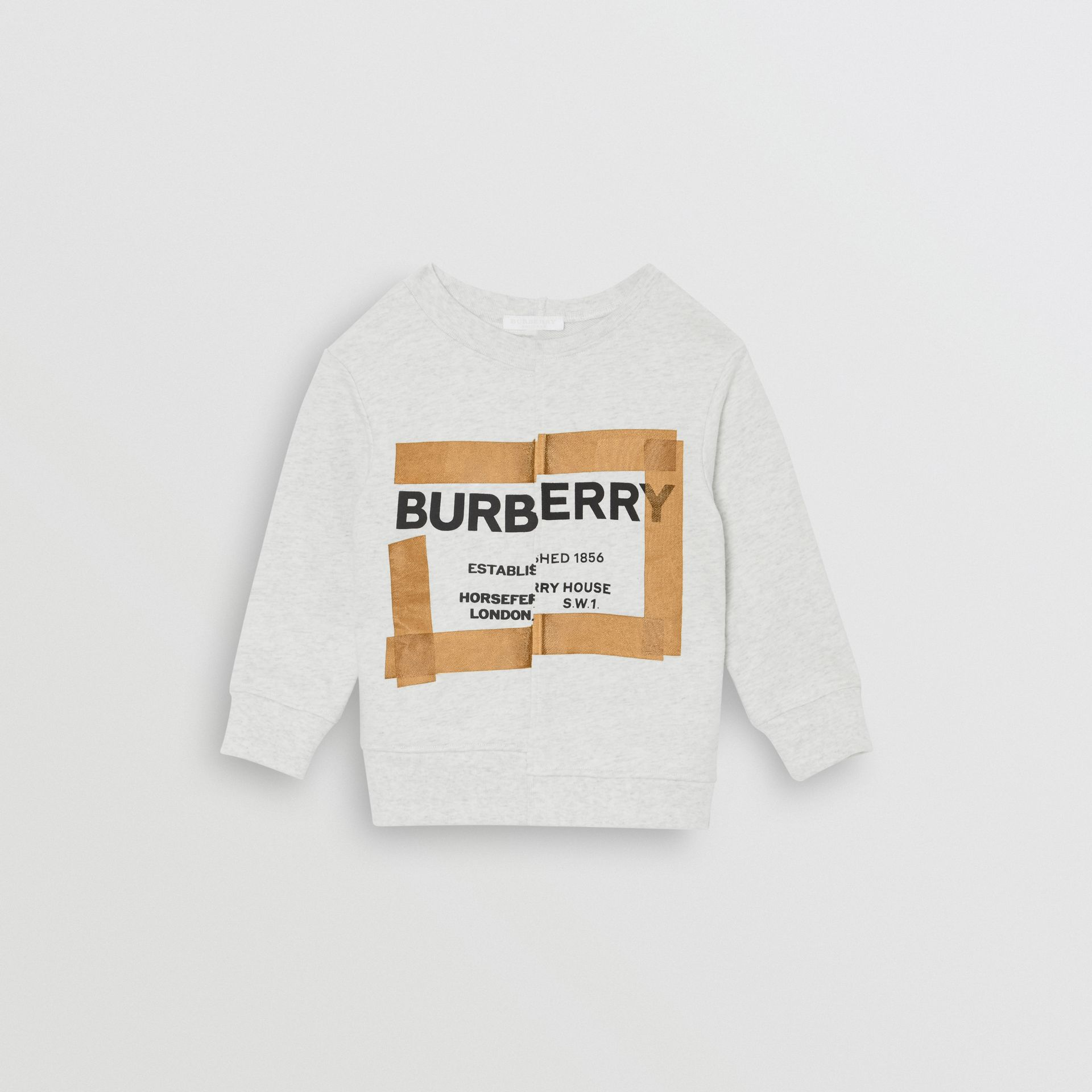 Horseferry Print Cotton Sweatshirt in White Melange | Burberry United States - gallery image 0