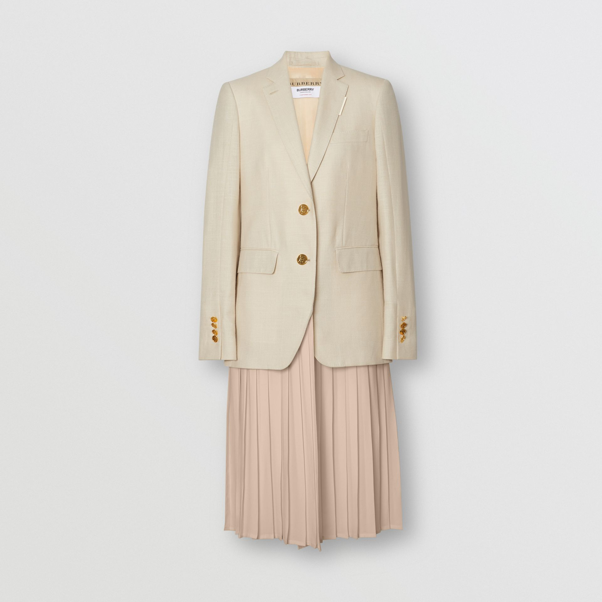 Pleated Panel Wool Silk Linen Tailored Jacket in Sesame - Women | Burberry United Kingdom - gallery image 3