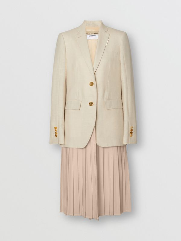 Pleated Panel Wool Silk Linen Tailored Jacket in Sesame - Women | Burberry United Kingdom - cell image 3