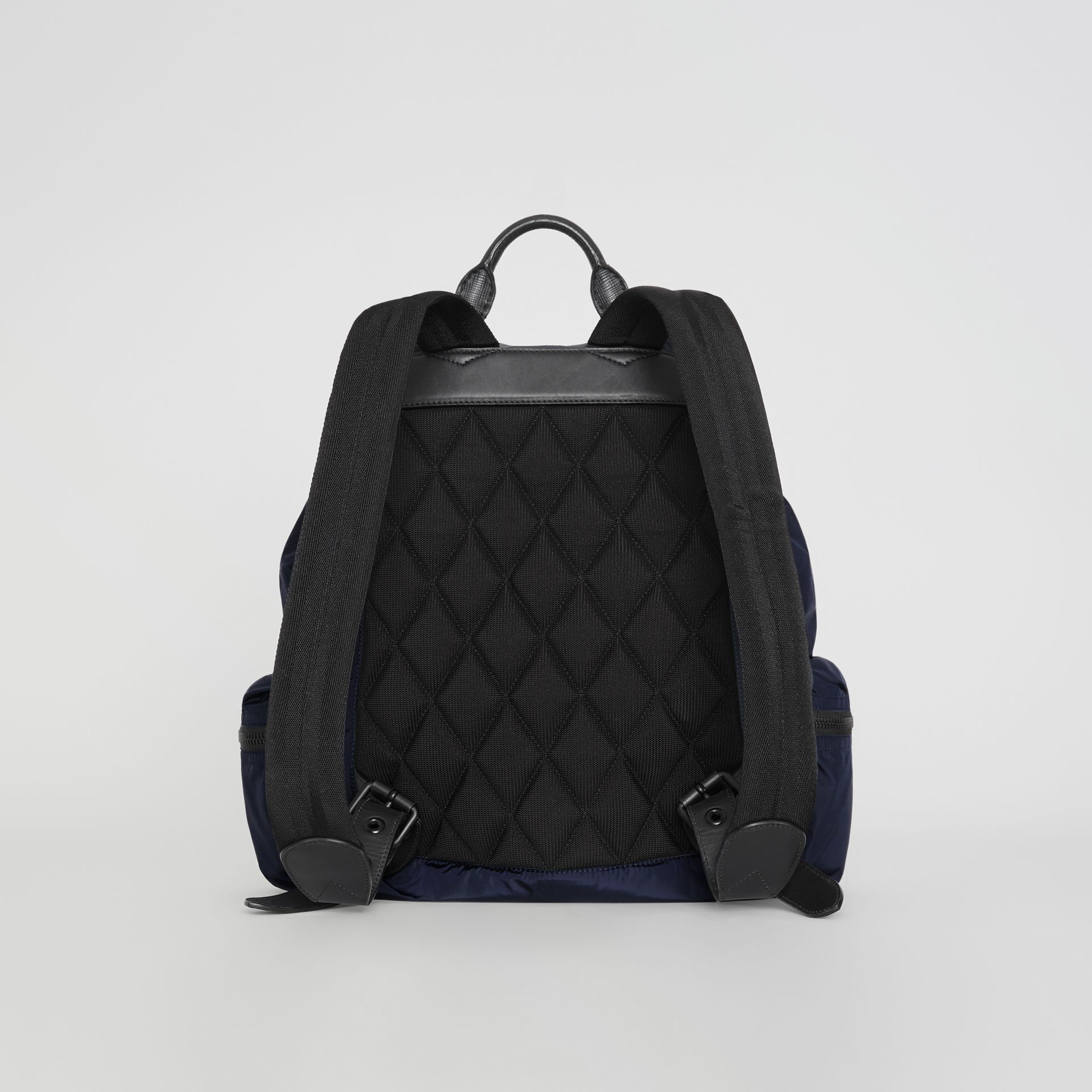 The Large Rucksack in Technical Nylon and Leather in Ink Blue - Men | Burberry United Kingdom - gallery image 7