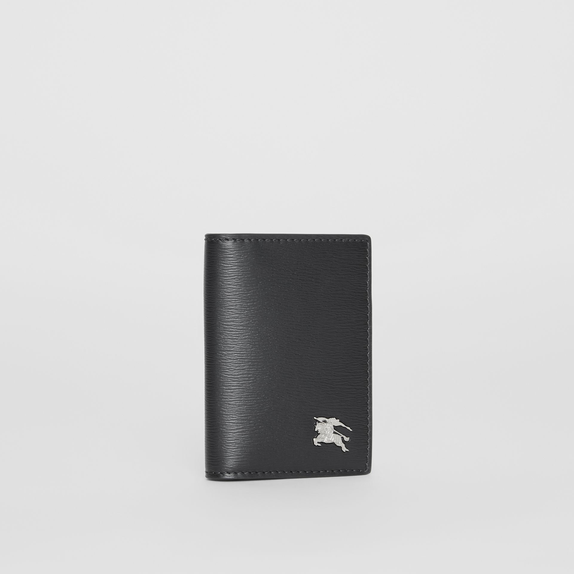 Grainy Leather Folding Card Case in Black - Men | Burberry Canada - gallery image 3
