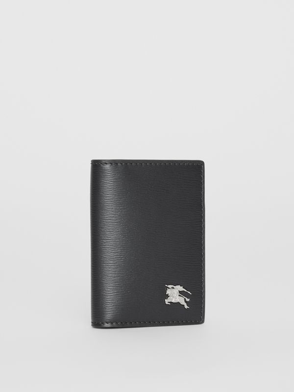 Grainy Leather Folding Card Case in Black - Men | Burberry Canada - cell image 3