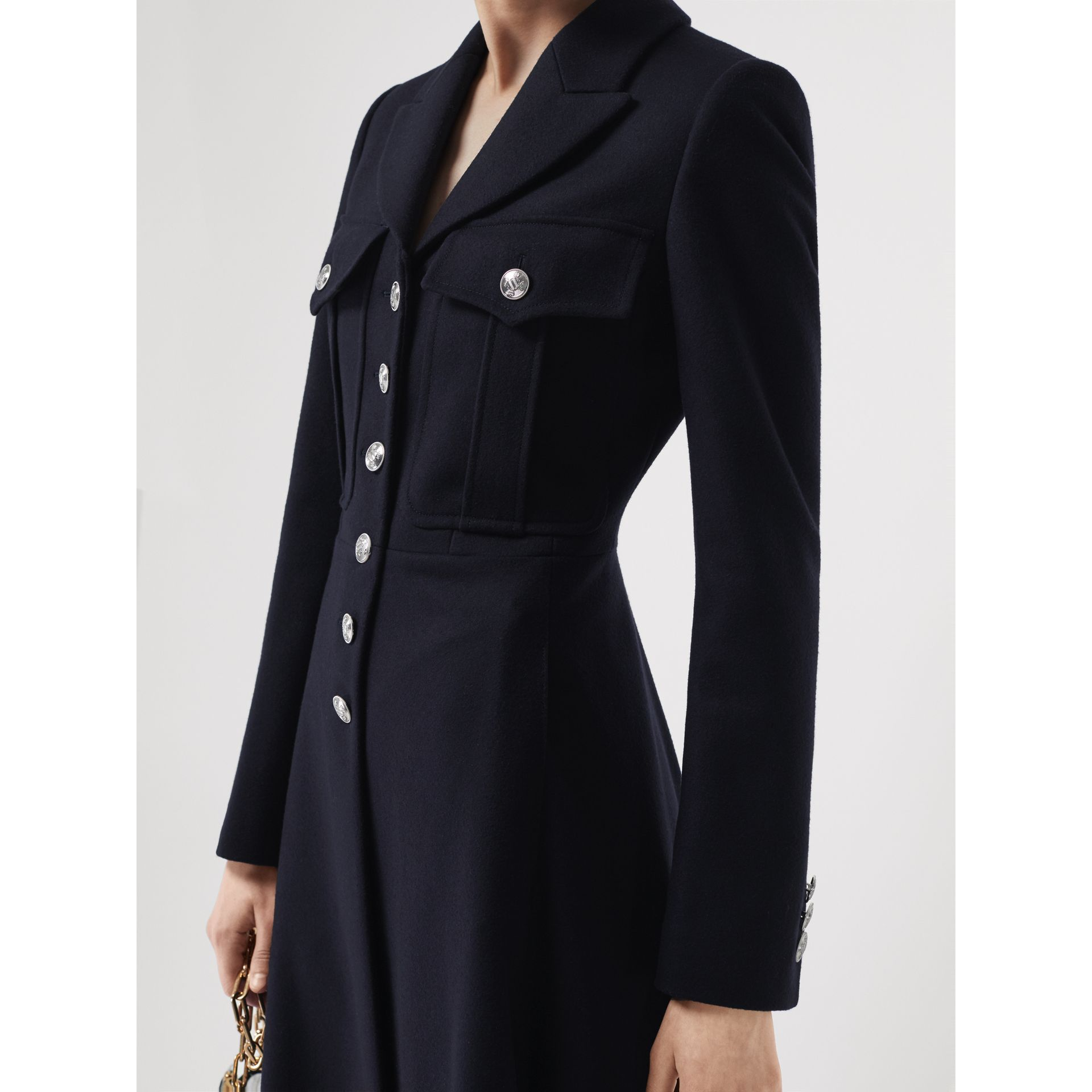 Melton Wool Tailored Coat in Navy - Women | Burberry United Kingdom - gallery image 1
