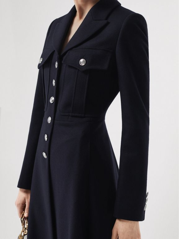 Melton Wool Tailored Coat in Navy - Women | Burberry Hong Kong - cell image 1