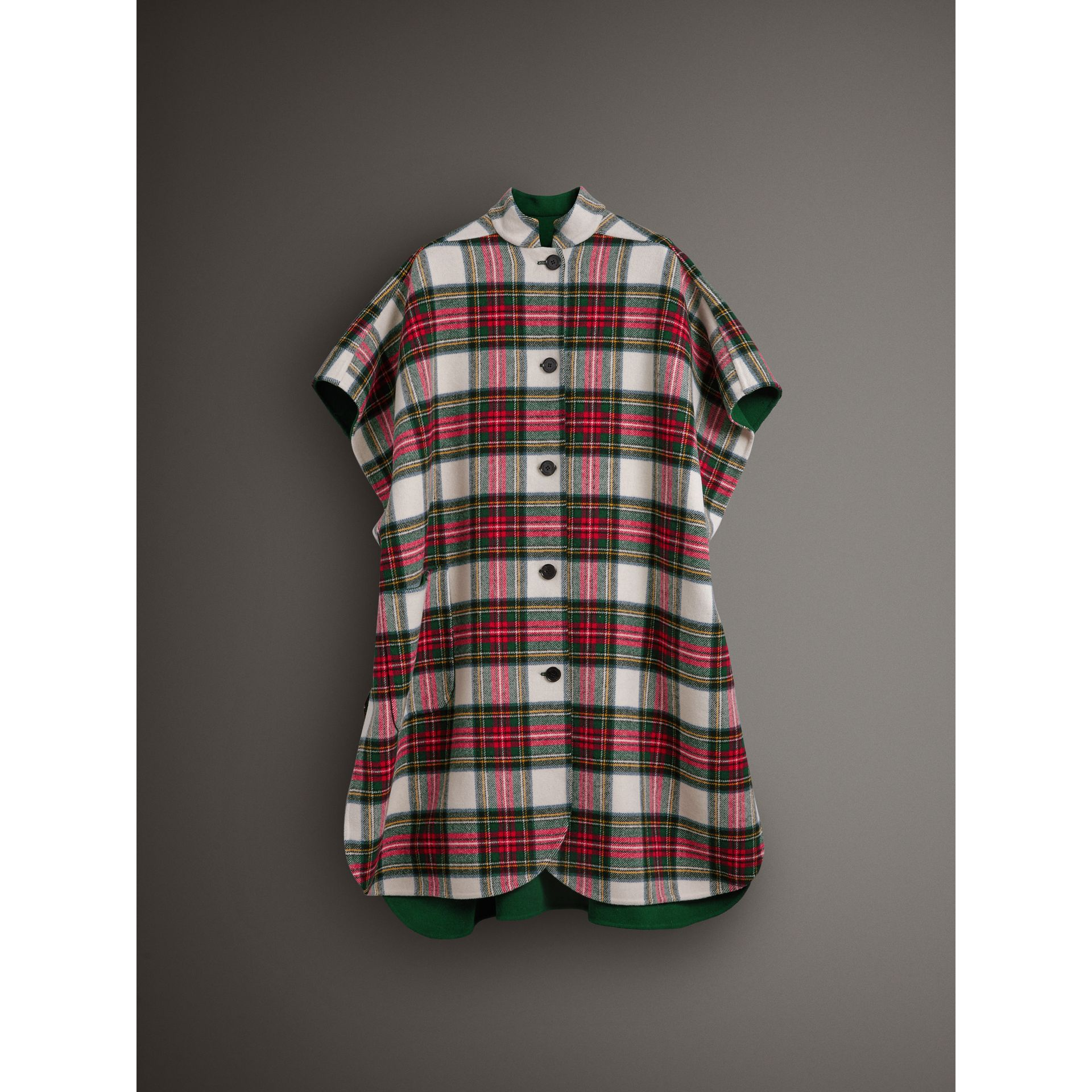 Reversible Tartan Oversized Poncho in Natural White/bottle Green | Burberry - gallery image 4