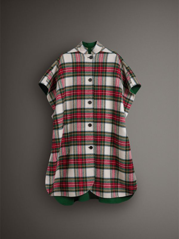 Reversible Tartan Oversized Poncho in Natural White/bottle Green | Burberry United Kingdom - cell image 3