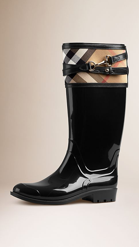 Black House Check Buckle Detail Rain Boots - Image 1