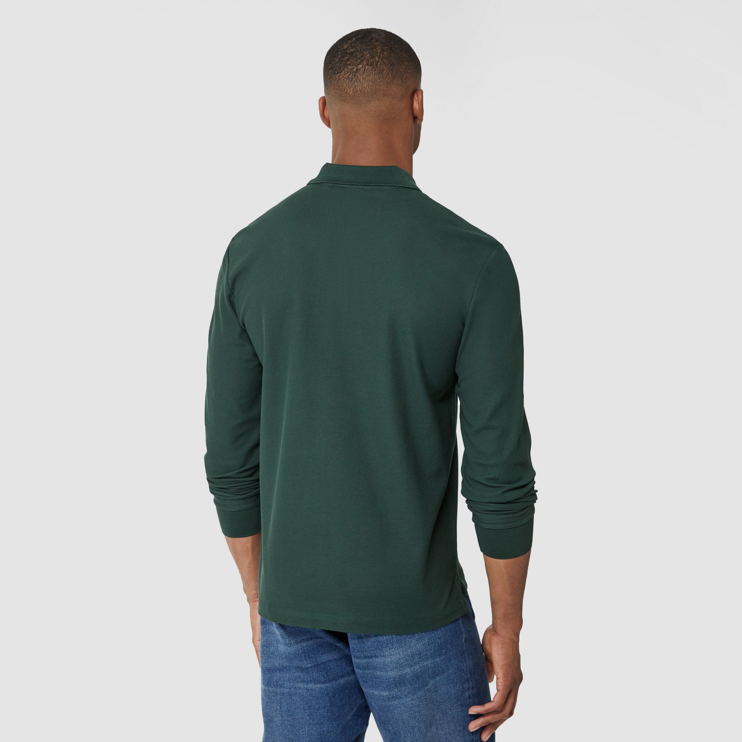 Long-sleeve Contrast Logo Graphic Cotton Polo Shirt in Dark Pine Green - Men | Burberry - 3