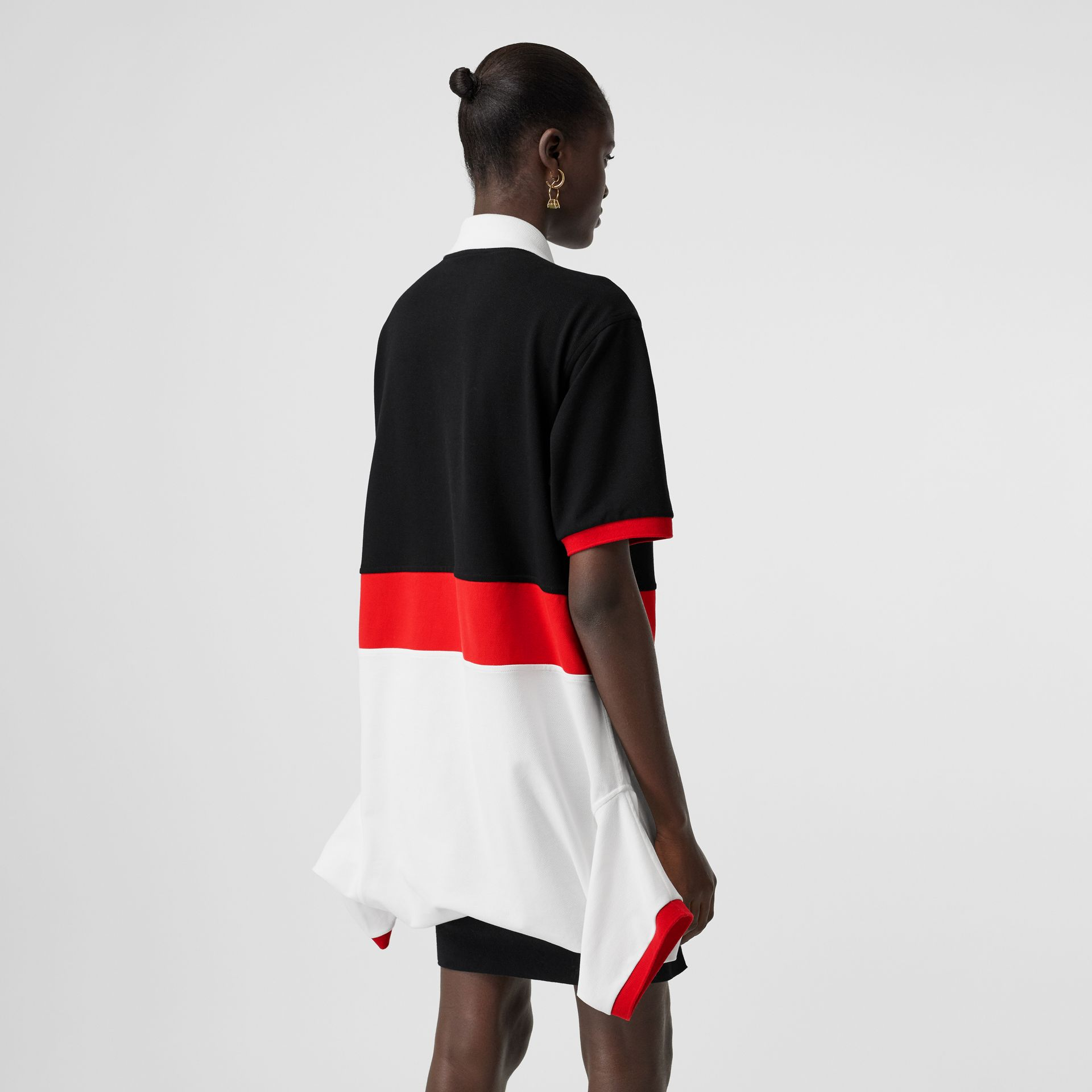 Striped Cotton Reconstructed Polo Shirt Dress in Black - Women | Burberry - gallery image 2