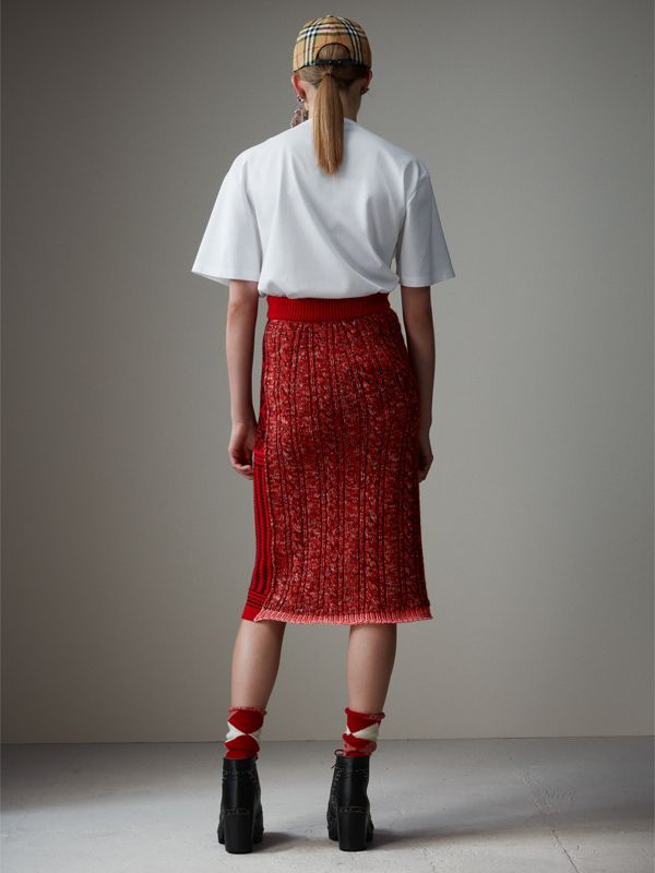 Geometric and Cable Knit Wool Cashmere Skirt in Red/black - Women | Burberry - cell image 2
