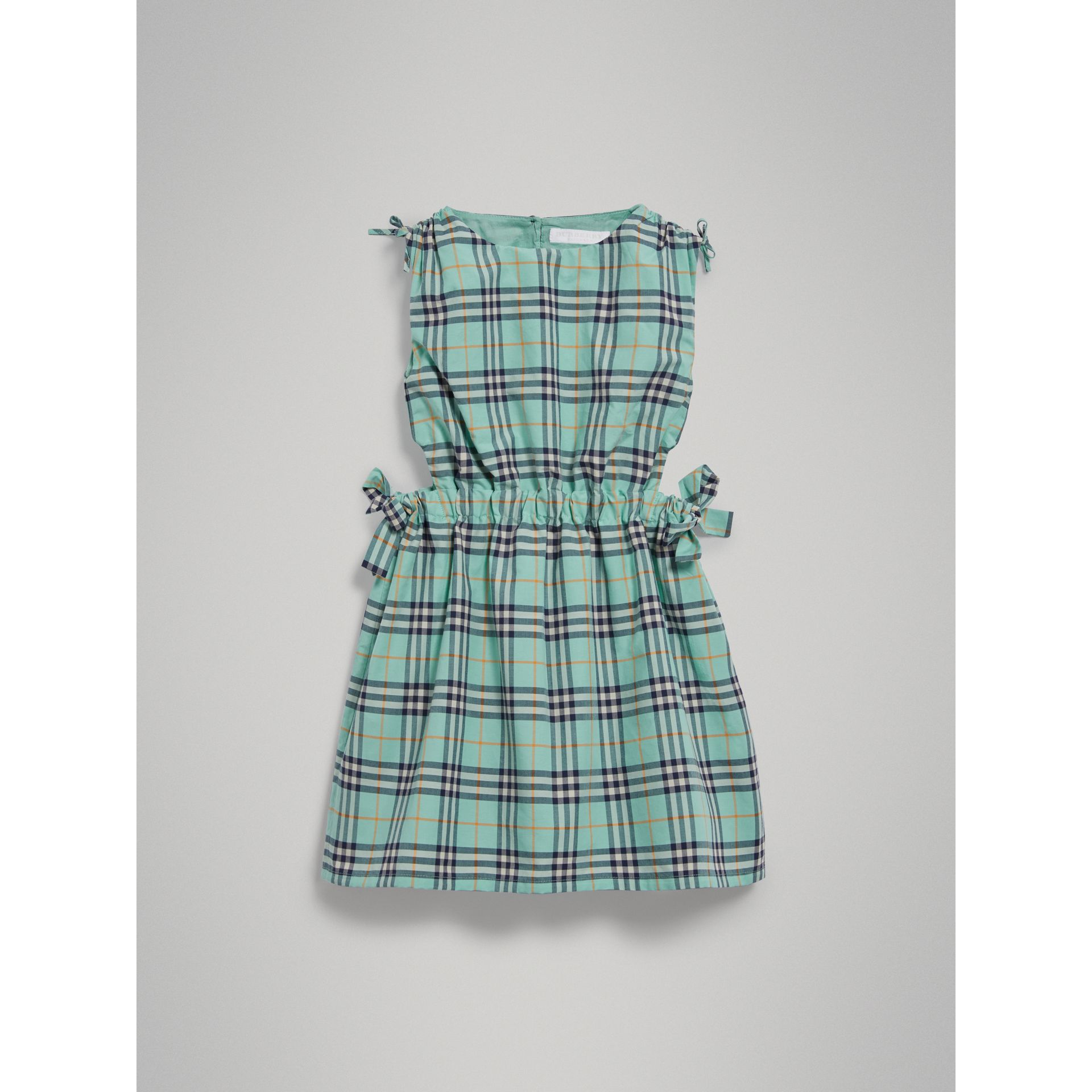Tie Detail Check Cotton Dress in Bright Aqua - Girl | Burberry - gallery image 2