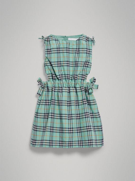 Tie Detail Check Cotton Dress in Bright Aqua - Girl | Burberry - cell image 2