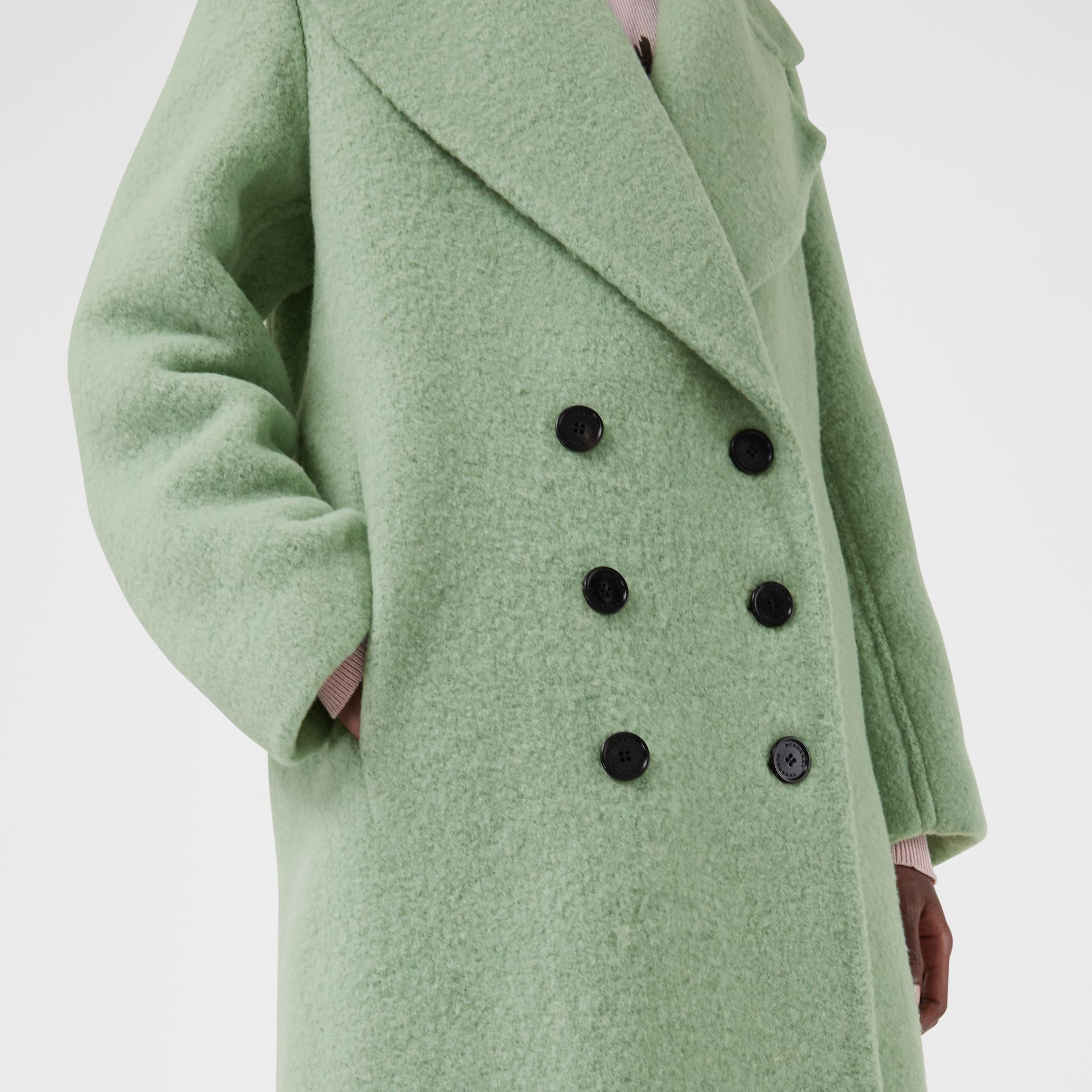 Double-faced Wool Alpaca Blend Oversized Coat in Celadon Green - Women | Burberry United Kingdom - gallery image 1