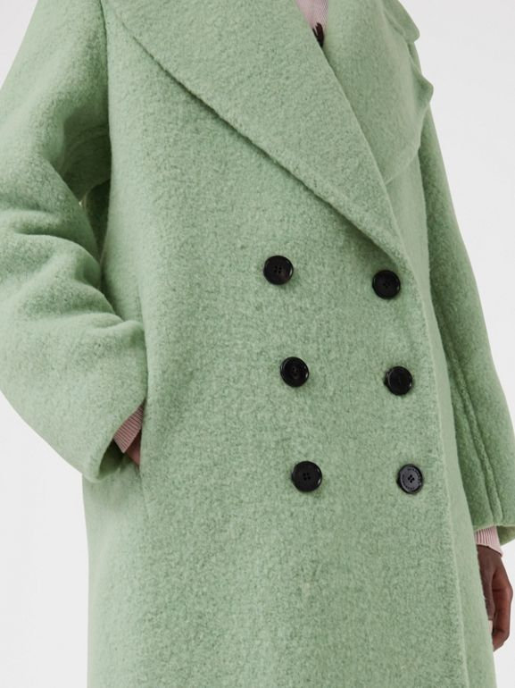 Double-faced Wool Alpaca Blend Cocoon Coat in Celadon Green - Women | Burberry - cell image 1