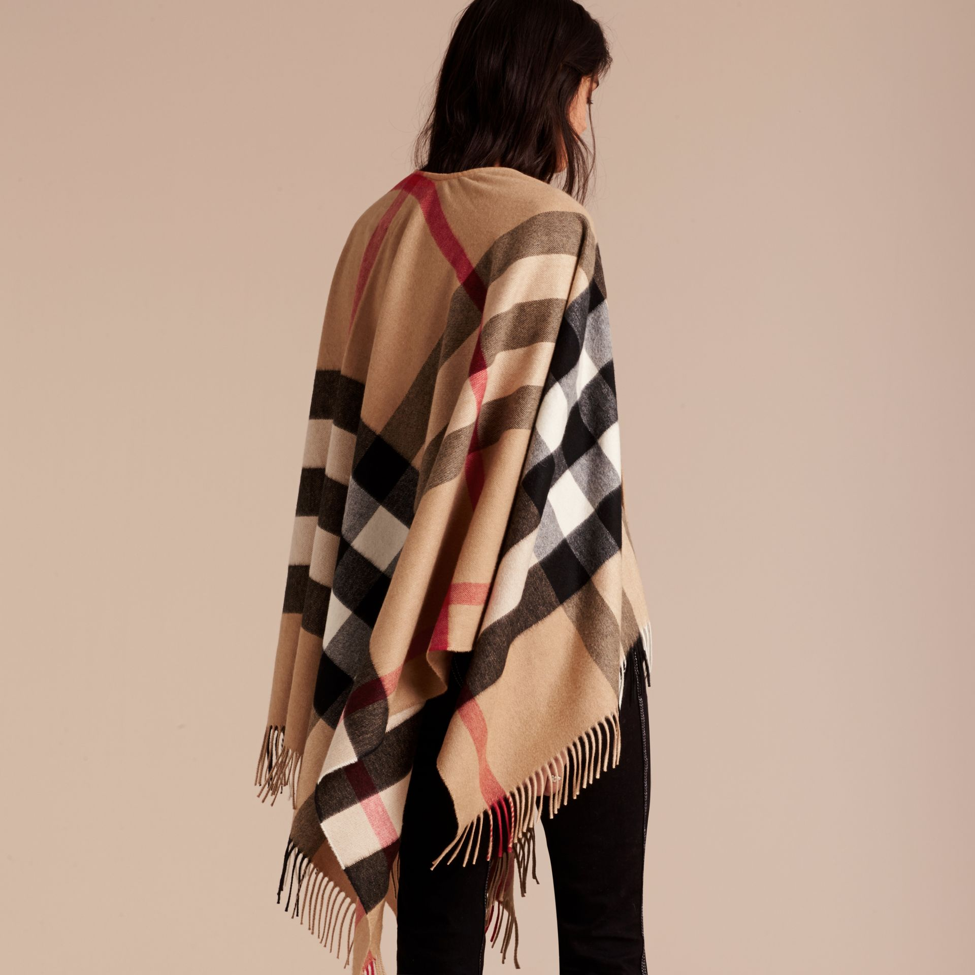 Camel Check Cashmere and Wool Poncho Camel - gallery image 7